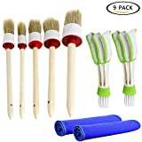 FANCYLEO 5 Pcs Car Detailing Brush Set - Premium Natural Boar Hair Detail Brush and 2 Pcs Automotive Air Conditioner Cleaner and Wash Towels For Cleaning Wheels/Engine/ Interior/Emblems/ Interior
