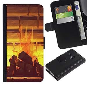 LASTONE PHONE CASE / Lujo Billetera de Cuero Caso del tirón Titular de la tarjeta Flip Carcasa Funda para Samsung Galaxy S3 MINI NOT REGULAR! I8190 I8190N / Watercolor Abstract Mystical Paining