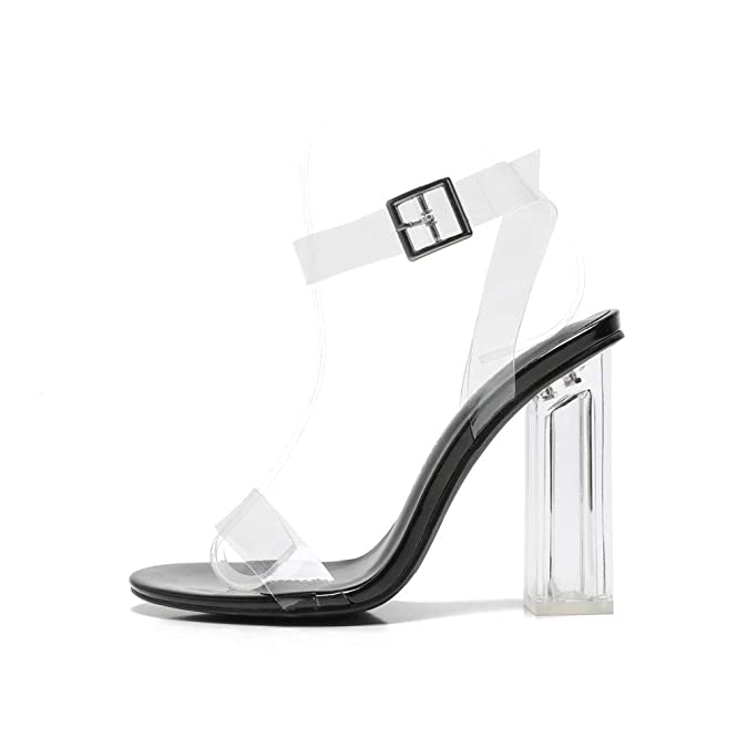 8821680a611 MACKIN J G349-1 Transparent Open Toe Ankle Strappy Block Chunky Heel  Sandals with TPU Clear Plastic (9, Black)