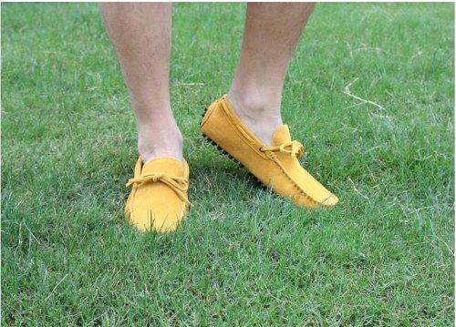 Fulinken Daim Cuir Mocassin Mens Glisser Sur Les Mocassins Chaussures De Sport Chaussures De Conduite Jaune