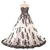 Yuxin Sweetheart Ball Gown 2017 Black Appliques Wedding Dresses for Bride Lace Up Tullle Princess Bridal Gown