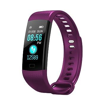 qhj Smart Watch Sport Fitness Actividad de frecuencia cardíaca Tracker Tensiómetro de reloj, morado