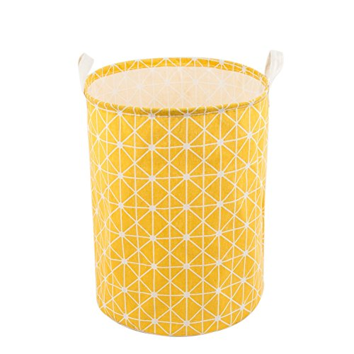 Every Deco Yellow Geometric Laundry Hamper and Storage Bucket (Colorful Laundry Baskets)