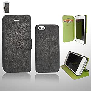 Just In(TM) Oracle Wallet PU Leather Credit Card Holder Pouch Case Cover for Apple iPhone 5S 5 with Screen Protector Black w/ Green in