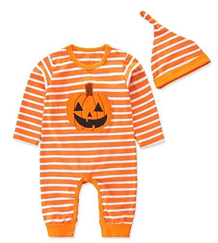 (KimSoong Infant Baby Boys Girls Halloween Jumpsuit Romper Pumpkin Stripe Long Sleeve Bodysuits + Hat Outfit Clothes Set Orange)