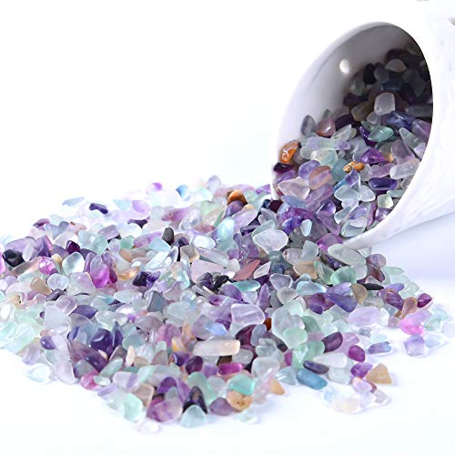 Kingyao Flourite Crystals 1 lb Tumbled Chips Crushed Quartz Crystal Stone Crystals and Healing Stones Reiki Chakra Stone Making Home Decoration