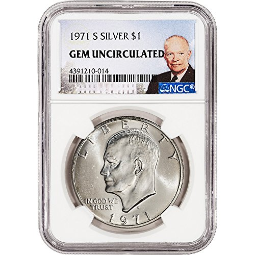 - 1971 S US Eisenhower Silver Dollar Uncirculated Ike Large Label $1 Gem Uncirculated NGC