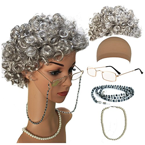 qnprt Old Lady/Mrs. Santa Wig, Madea Granny Glasses, eyeglass Chains Holder and Cords Strap,FauxPearl Beads Choker Necklaces(Style-1)