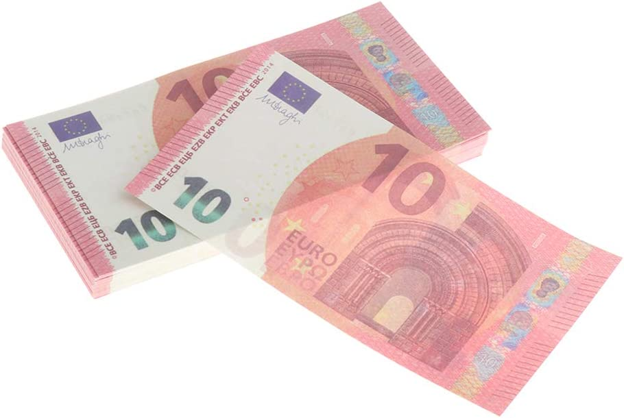 Birthday Party Copy Money Play Money That Looks Real for Movie,Videos Baoblaze 200 x Motion Picture Money Prop Money Full Print 2 Sided Euro Props 10 Euro