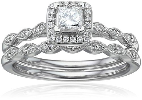 IGI Certified 14k White Gold Diamond Vintage Halo with Millgrain and Princess Cut Center Wedding Ring Set (1/2cttw, H-I Color, I1-I2 Clarity), Size 7