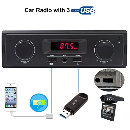 Carlike Car Stereo Audio Receiver FM Radio MP3 player with USB Charging/Aux in/Single Din In-Dash(No Bluetooth/CD/DVD)