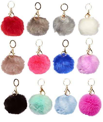 1 Dozen of Faux Fur Pom Pom Keychains -