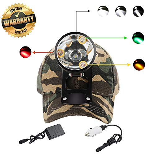 Cree LED Hunting Lights with Red & Green Hunting Light for Scanning Coons,Coyotes,Predators/Amber Light for Bowfishing/3 Powerful White Light for Night Outdoor Sports Premium Hunting Headlamp (Best Headlamp For Hunting)