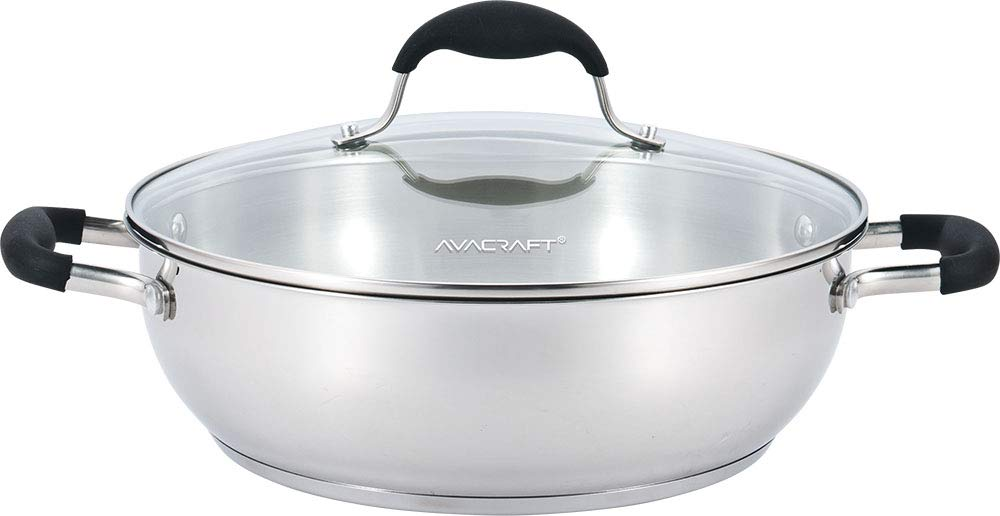 AVACRAFT 18/10 Stainless Steel Everyday Pan with Tri-Ply Base, Chef's Pan with Glass Lid, Silicone Coated Ergonomic Loop Handle, Multipurpose Stewpot with Lid, Saute Pan (11 inch)