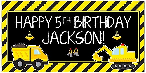 - Personalized Under Construction Dump Truck Party Zone Birthday Banner Parrty Backdrop