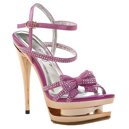 Ellie Shoes 6 Inch High Heel Sexy Sandals Rhinestone Straps Bow Open Toe Womens Sandals Size: 7 Colors: Pink - Pink Stripper Shoes