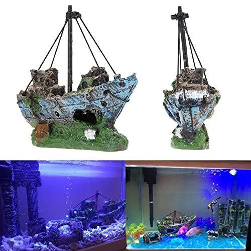 Clam Fish Shelter - VietGT Aquarium Decoraiton - Mini Aquarium Sunk Wreck Boat Decoration Fish Tank Wreck Sailing Boat Ornament Shelter Cave for Fish Shrimp Hiding 13X5X11Cm 1 Pcs