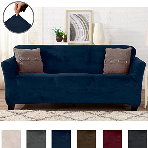 Great Bay Home SOFA SAVER. Modern Velvet Plush Strapless Slipcover. Form Fit Stretch, Stylish Furniture Cover/Protector. Gale Collection by Brand. (Sofa, Dark Denim Blue)