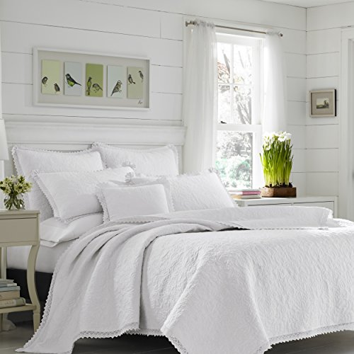 Laura Ashley 221296 Heirloom Crochet Quilt Set, Full/Queen, White