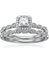 IGI Certified 14k White Gold Diamond Vintage Halo with Millgrain and Princess Cut Center Wedding Ring Set (1/2cttw, H-I Color, I1-I2 Clarity)