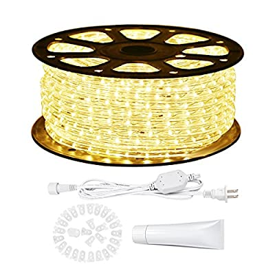 LE 150ft 110-120V AC LED Rope Lights Kit, 3000K Warm White, Waterproof, Accessories Included, 360° Beam, Crystal Clear PVC Tubing Rope, Indoor/Outdoor Rope Lighting for Holiday/Christmas/Thanksgiving