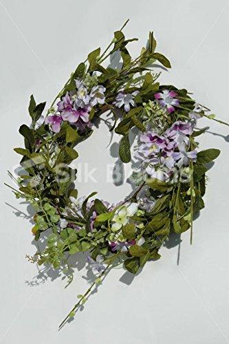 Medium ready-made Wreath ofピンク&ホワイトTrailingライラック21 cm B00YASB3YA