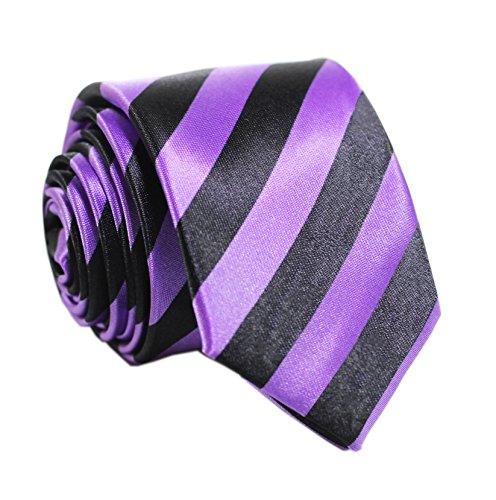 - Secdtie Mens Classic Striped Black Purple Jacquard Woven Silk Tie Formal Necktie