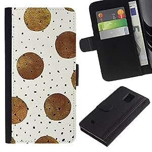 KingStore / Leather Etui en cuir / Samsung Galaxy Note 4 IV / Lunares de la acuarela de luz en colores pastel