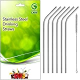 GreenLabs Stainless Steel Drinking Straws, Reusable, Set of 6 + Cleaning Brush
