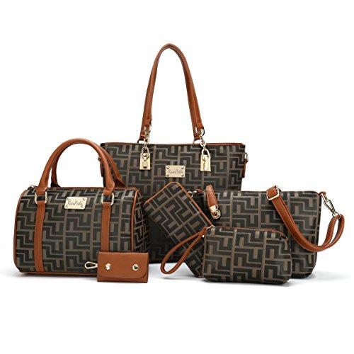 Women Shoulder Handbag for Work Purse 6 Piece Set Bag  dc6f9f8e0f3fc