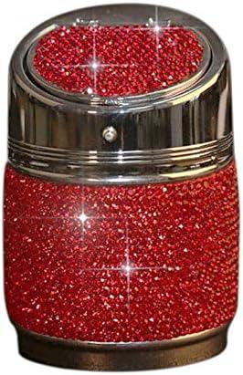 RETYLY ダイヤモンドの自動車用灰皿、光沢のある自動車の灰皿、カバー付き、自動車、女性と女の子のための素晴らしい贈り物、赤色