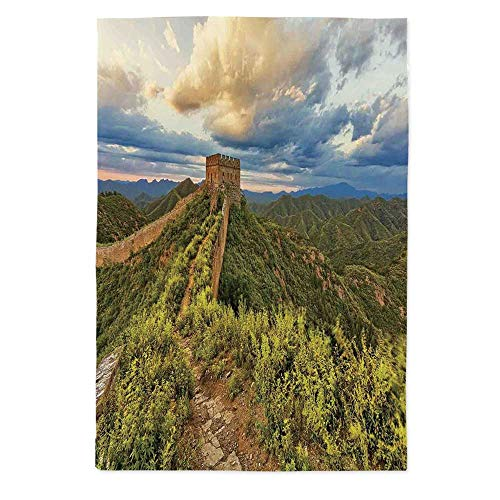 TecBillion Great Wall of China Polyester Tablecloth,Exquisite Skyline on Classical Old Castle Wonder of The World Themed for Wedding Banquet Restaurant,70.1''W X 84''L