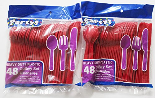 Heavy Duty Plastic Cutlery Set in Red- 32 Spoons, 32 Forks, 32 Knives (Plastic Set Utensil)