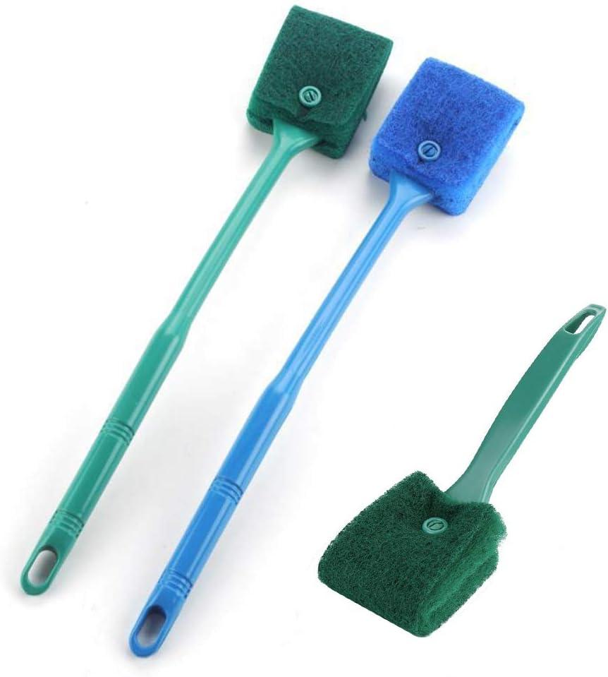 mopalwin 3 spazzole per la pulizia dell'acquario, spazzola per la pulizia di due lati, spugna di pulizia con manico, strumento portatile per la pulizia dei vetri, raschietto per alghe e acquari