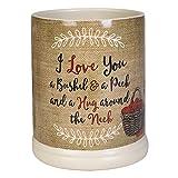 Elanze Designs I Love You A Bushel A Peck Burlap Apples Ceramic Stone Jar Warmer