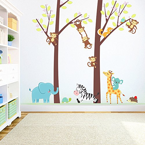 Beautiful Tree Animal Wall Stickers Decals-Removable Cartoon