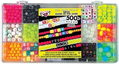 Includes 500 Fashion Angels Tell Your Story Neon Bead Case 12517 Bracelet Making Kit Beads,Multi