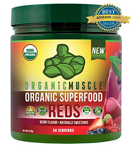 Certified Organic Superfood Reds Powder | Vital Reds Juice Supplement for Detox, Energy, Focus, Digestion, Metabolic Boost & Anti-Aging | Vegan, Non-GMO, Berry Flavor, 30 Day Supply | ORGANIC MUSCLE (Best Detox Juice Brands)