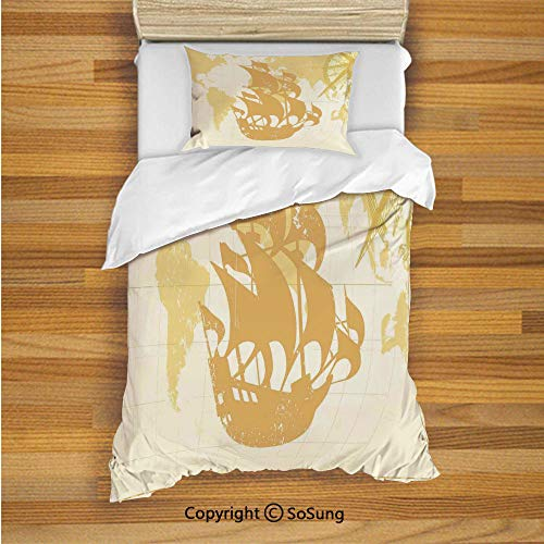 SoSung Nautical Kids Duvet Cover Set Twin Size, Double Exposure Vintage Graphic with Old World Map A Nostalgic Sailboat Compass Concept 2 Piece Bedding Set with 1 Pillow Sham,Beige ()