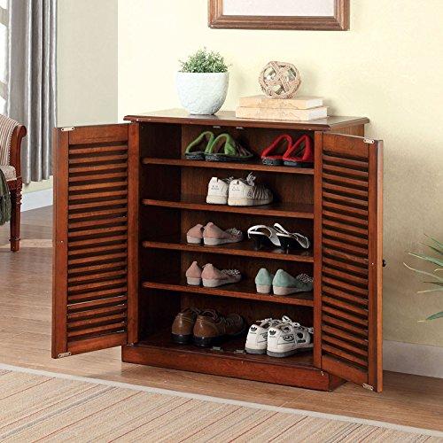 Della Classic Style Oak Finish Shoe Cabinet