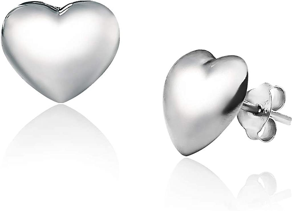 Big Apple Hoops - High Polished Sterling Silver Stylish Hollow Puffed Heart Shaped Stud Earrings Made from Solid 925 Sterling Silver Unique Design Jewelry Fashion Gift for Men, Teens, Women