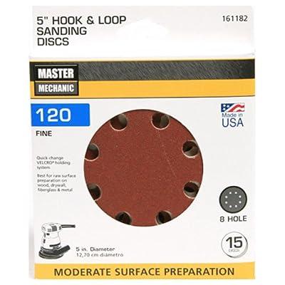 ali industries 4141-003 Master Mechanic, 15 Pack, 5 -Inch, 120 Grit, Fine, 8 Hole Hook and Loop Sanding Disc