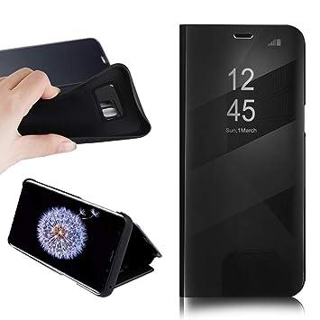 BOSHANDA Funda Samsung S9 Case Clear View Standing Cover, Flip Cover Carcasa para Samsung Galaxy S9 Soporte Plegable, Cierre Magnético, Negro