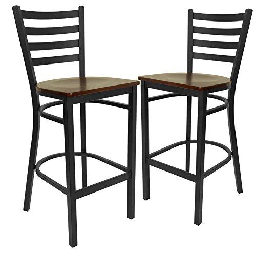 Contemporary Mahogany Bar Stool - Flash Furniture 2 Pk. HERCULES Series Black Ladder Back Metal Restaurant Barstool - Mahogany Wood Seat