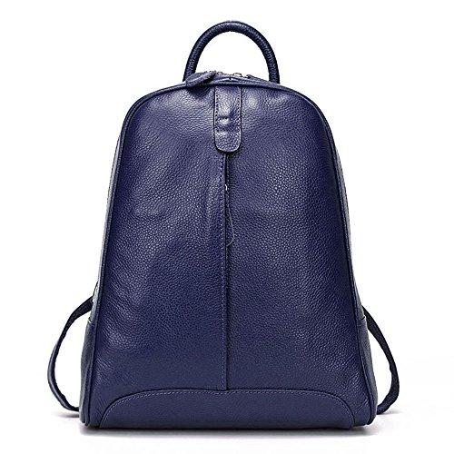- DHL Delivery Fashion Genuine Leather Backpack Women Laptop Casual Knapsack Travel Girls Dark Blue