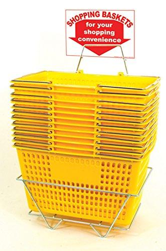 12 Set Shopping Baskets Yellow Jumbo-Size, Heavy-Duty, Grocery Basket by shopping basket