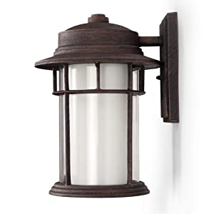 Outdoor Wall Lanterns/Sconce, 1-Light Exterior Wall Mount Light in Rustic Brown Finish with Frost Glass, Aluminum Alloy Patio/Porch Lighting Fixture, 60W
