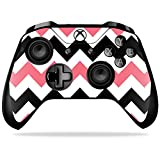MightySkins Skin for Xbox One X Controller – Black Pink Chevron Protective, Durable, and Unique Vinyl Decal wrap cover | Easy To Apply, Remove, and Change Styles | Made in the USA For Sale