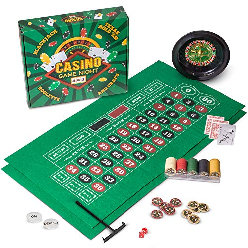 Casino Game Night | 4-in-1 Gambling Game Set | Texas Hold 'Em, Blackjack, Roulette, and Craps | Includes Roulette Wheel, 2 Double-sided Mini Felts, 100 Poker Chips, Craps Dice, Playing Cards, and More (Best Blackjack Tables In Las Vegas)