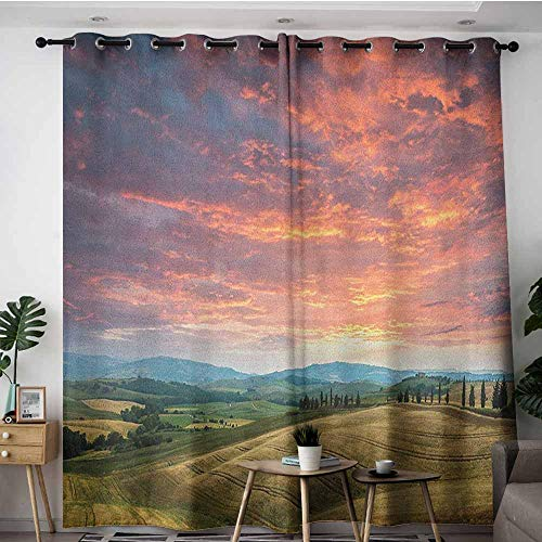 AGONIU Living Room/Bedroom Window Curtains,Tuscany Tuscany Italy Cypress Trees and Fields Crop Cloudy Sky Holiday Destination,Great for Living Rooms & Bedrooms,W96x72L Vermilion Khaki
